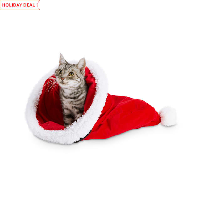 Holiday Tails Santa's Magic Hat Cat Play Sack with Crinkle - Carousel image #1