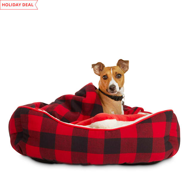 """Holiday Tails Dreaming of Santa Red Buffalo Check Dog Bed Gift Set, 24"""" L X 18"""" W X 7"""" H - Carousel image #1"""