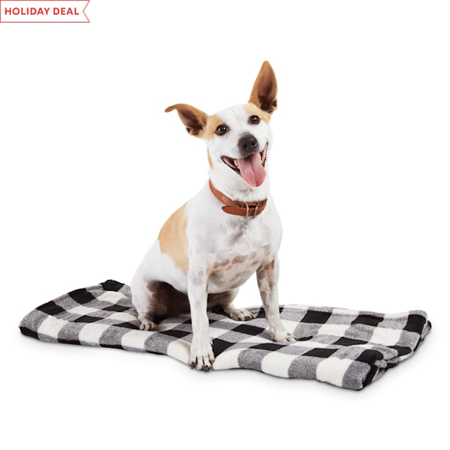 """Holiday Tails Winter Vacation Grey Buffalo Check Pet Throw, 50"""" L X 60"""" W - Carousel image #1"""