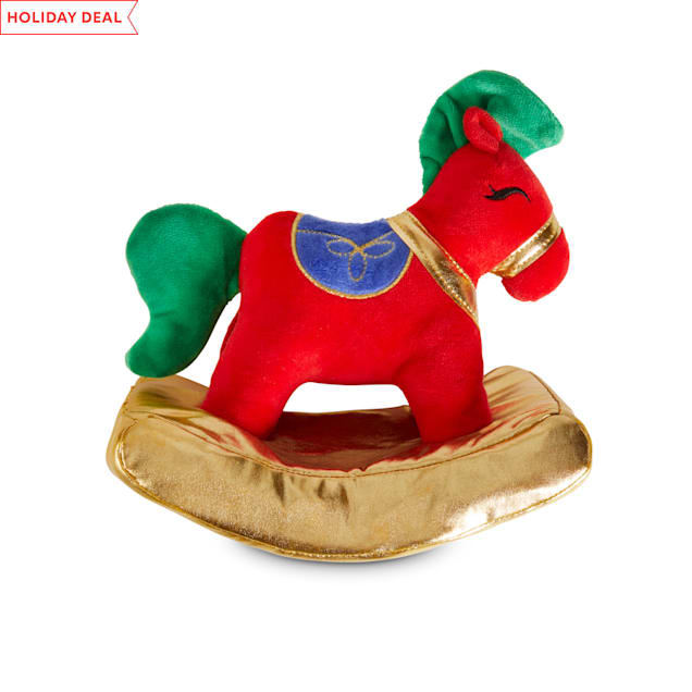 Holiday Tails The Rockin' Horse Plush Dog Toy with Squeaker & Crinkle, Large - Carousel image #1