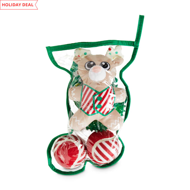 Holiday Tails Green Stuffed Stocking Dog Toy Gift Set with Squeakers & Crinkle, Medium/Large - Carousel image #1