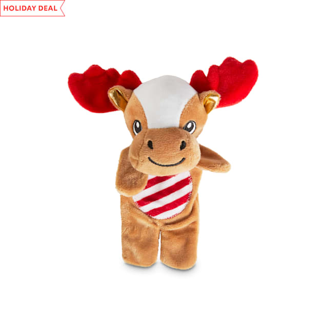 Holiday Tails Merry Christmoose Plush Flattie Dog Toy with Squeaker & Crinkle, Medium - Carousel image #1