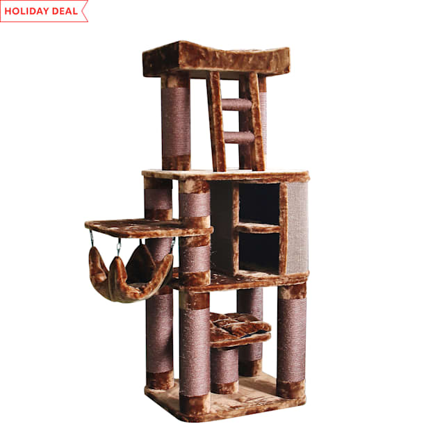 "Kitty Mansions Brown Melbourne Cat Tree, 71"" H - Carousel image #1"