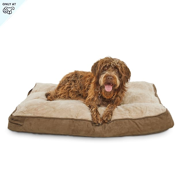 "Brown Memory Foam Rectangular Pillow Dog Bed, 30"" L x 40"" W - Carousel image #1"