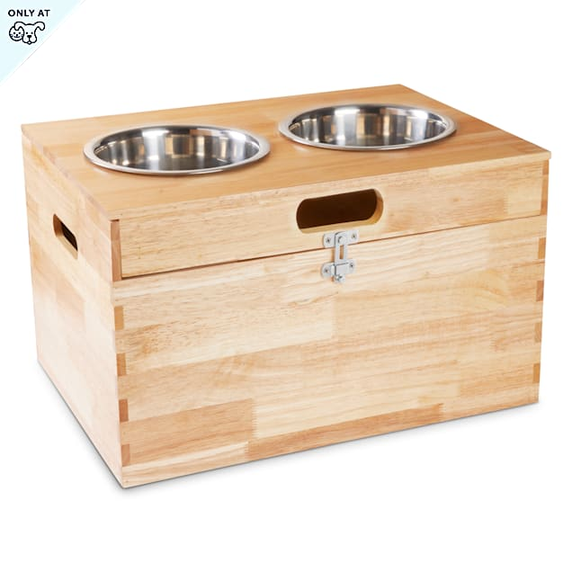 Harmony Elevated Double Diner with Storage for Dogs, 3 Cups - Carousel image #1