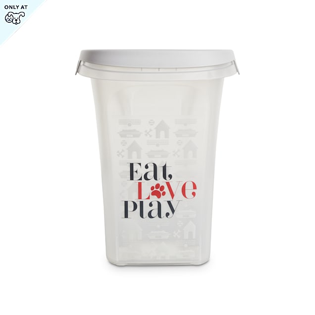 """You & Me Eat, Love, Play Clear Food Storage Container for Dogs, 10.7"""" L X 8.5"""" W X 10.8"""" H - Carousel image #1"""