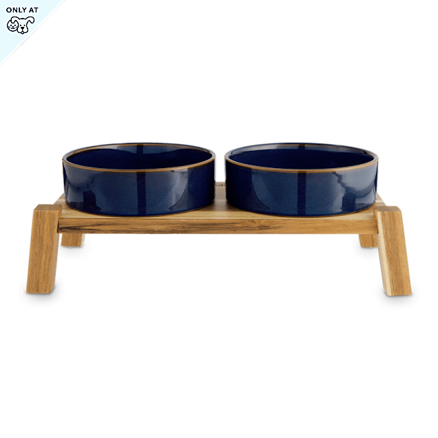 Reddy Indigo Ceramic & Wood Elevated Double Diner for Dogs, 3.8 Cup - Carousel image #1