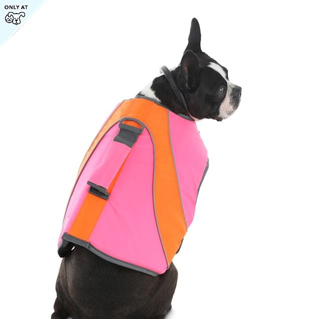 YOULY The Beach Bum Pink & Orange Dog Flotation Vest, XX-Small - Carousel image #1