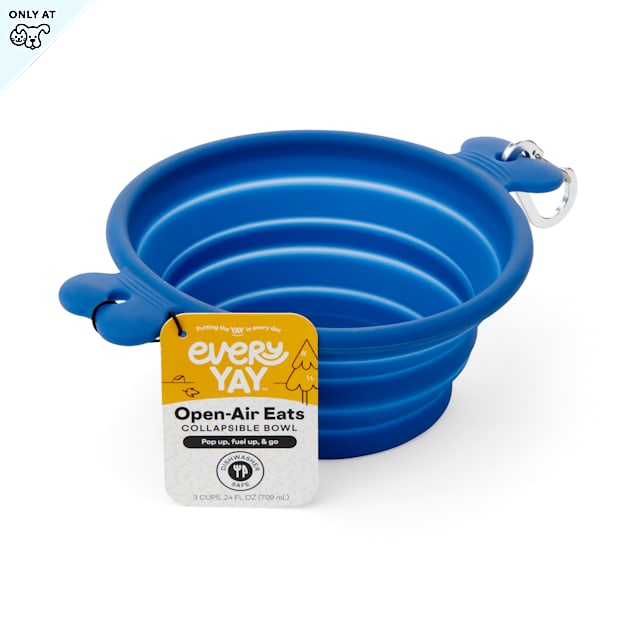 EveryYay Open-Air Eats Blue Collapsible Bowl for Dogs, 3 Cups - Carousel image #1