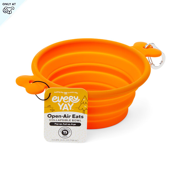 EveryYay Open-Air Eats Orange Collapsible Bowl for Dogs, 3 Cups - Carousel image #1