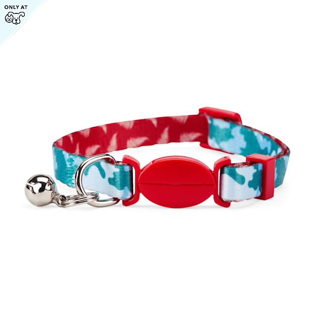 YOULY Started As A Bottle Recycled & Reinvented Blue Camo & Red Fern-Print Breakaway Cat Collar - Carousel image #1
