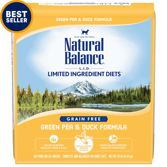 Natural Balance L.I.D. Limited Ingredient Diets Green Pea & Duck Formula Dry Cat Food, 10 lbs. - Carousel image #1