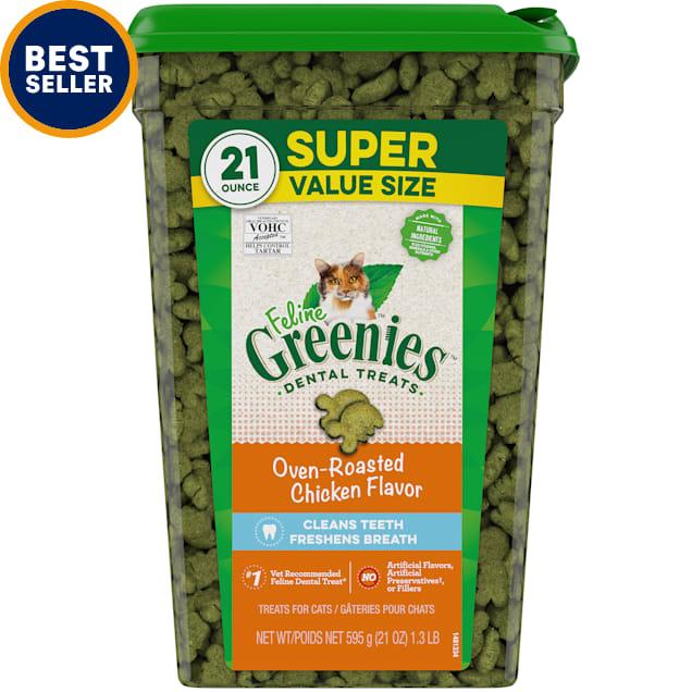Greenies Oven Roasted Chicken Flavor Dental Cat Treats, 21 oz. - Carousel image #1