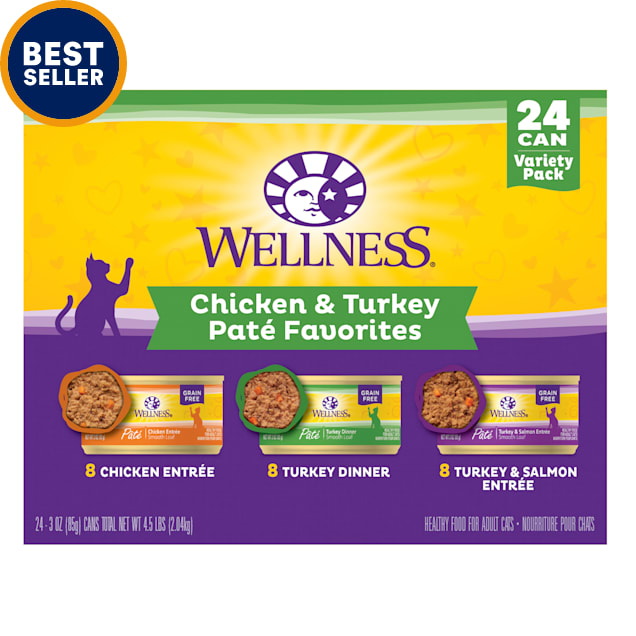 Wellness Complete Health Chicken & Turkey Pate Favorites Variety Pack Wet Adult Cat Food, 3 oz., Count of 24 - Carousel image #1