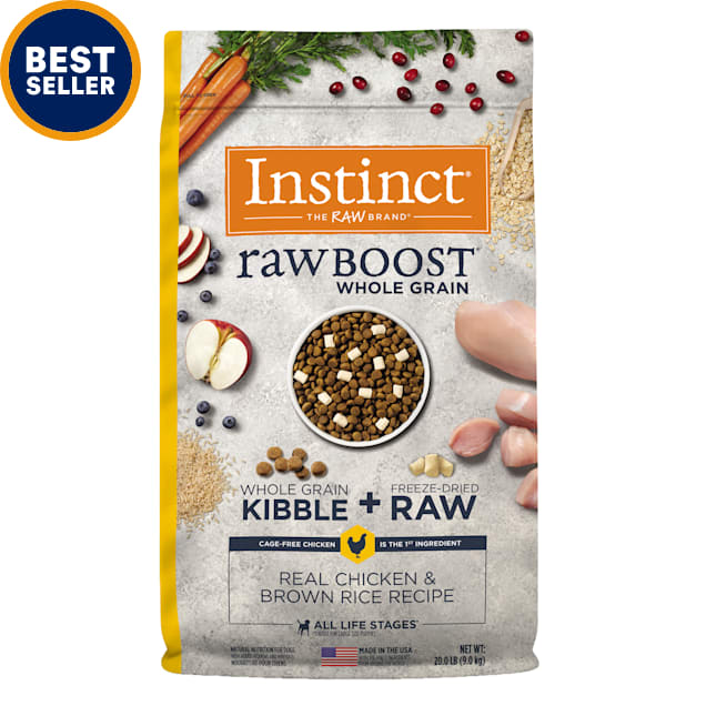 Instinct Raw Boost Whole Grain Real Chicken & Brown Rice Recipe Dry Dog Food with Freeze-Dried Raw Pieces, 20 lbs. - Carousel image #1