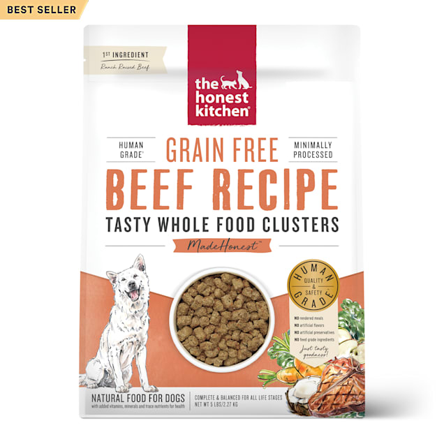 The Honest Kitchen Whole Food Clusters Grain Free Beef Dry Dog Food, 5 lbs. - Carousel image #1