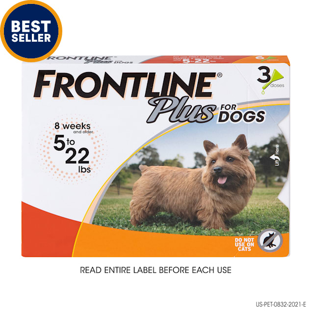 FRONTLINE Plus Flea and Tick Treatment for Small Dogs Upto 5 to 22 lbs., 3 Treatments - Carousel image #1