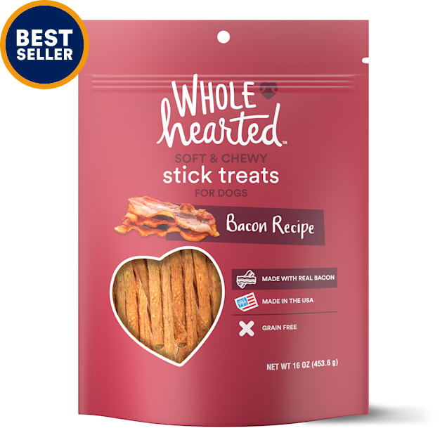WholeHearted Grain Free Soft and Chewy Bacon Recipe Dog Stick Treats, 16 oz - Carousel image #1