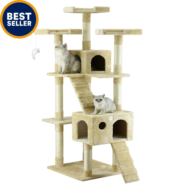 """Go Pet Club Beige 72""""Cat Tree Condo with Two Ladders - Carousel image #1"""