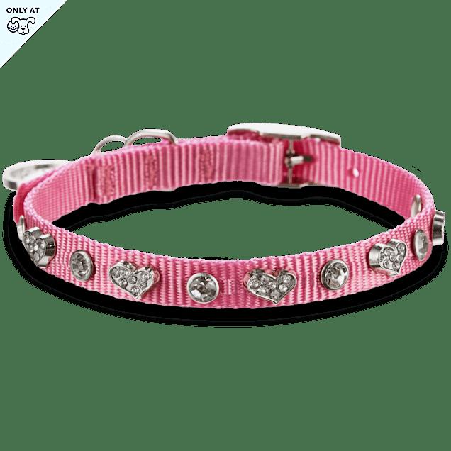 """Bond & Co. Pink Heart Bling Collar, For Necks 10""""-12"""" - Carousel image #1"""
