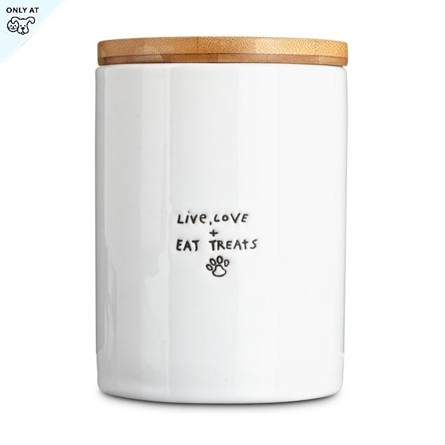 """Harmony """"Live, Love & Eat Treats"""" Ceramic Dog Treat Jar, Small - Carousel image #1"""