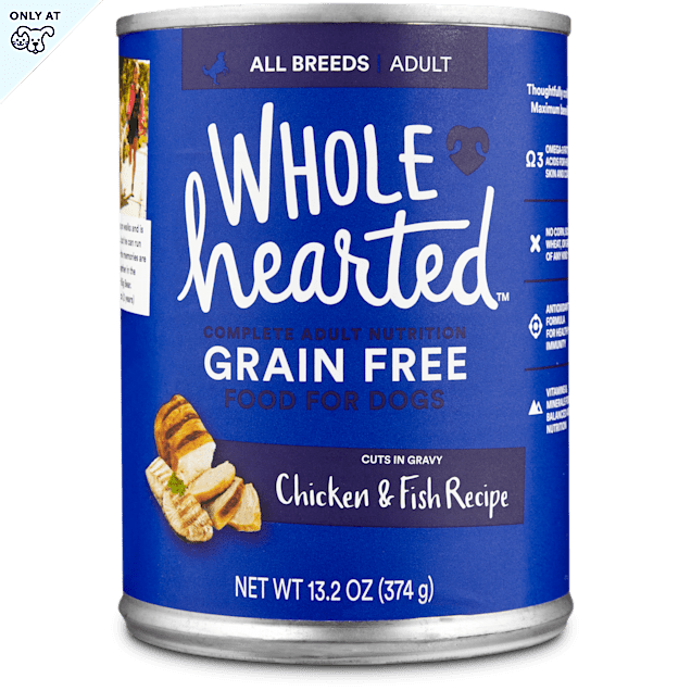 WholeHearted Grain Free Adult Chicken and Fish Recipe Wet Dog Food, 13.2 oz., Case of 12 - Carousel image #1