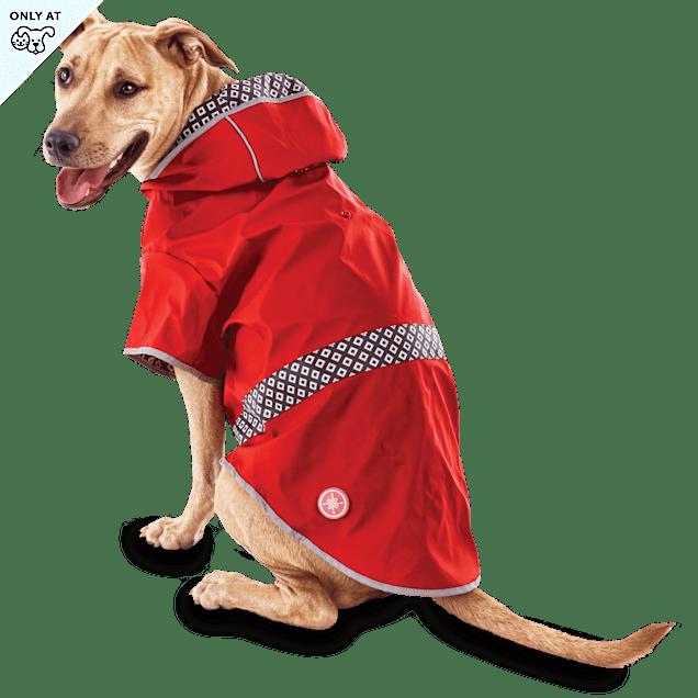 Good2Go Reversible Dog Raincoat in Red, Large - Carousel image #1