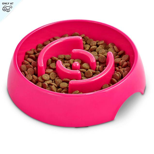 Harmony Pink Plastic Slow Feeder Dog Bowl, Large - Carousel image #1