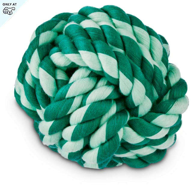 """Leaps & Bounds Rope Tug Ball Dog Toy in Assorted Green Colors, 4"""" - Carousel image #1"""