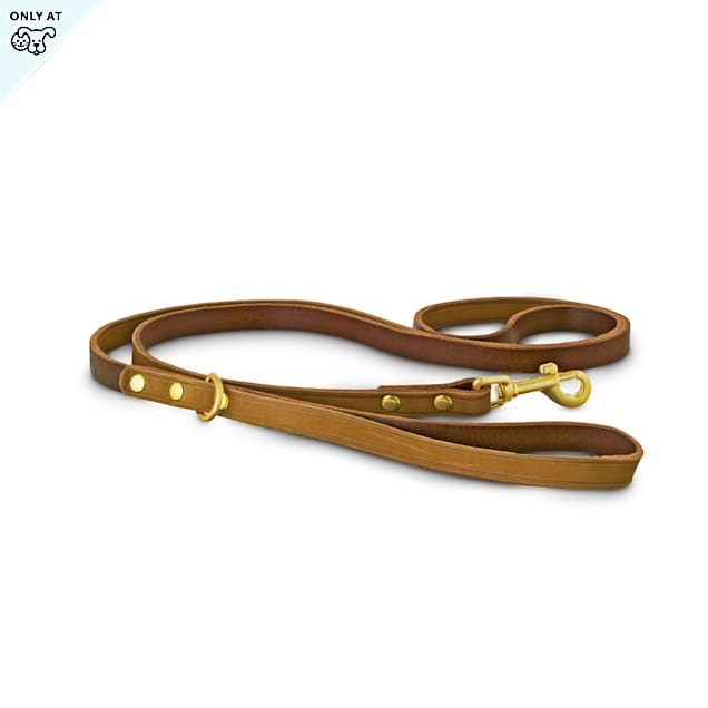 Bond & Co. Copper Suede Leather Small Dog Leash, 5' - Carousel image #1