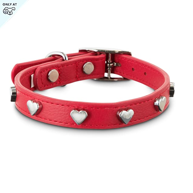 Bond & Co. All Heart Red Leather Dog Collar, X-Small/Small - Carousel image #1
