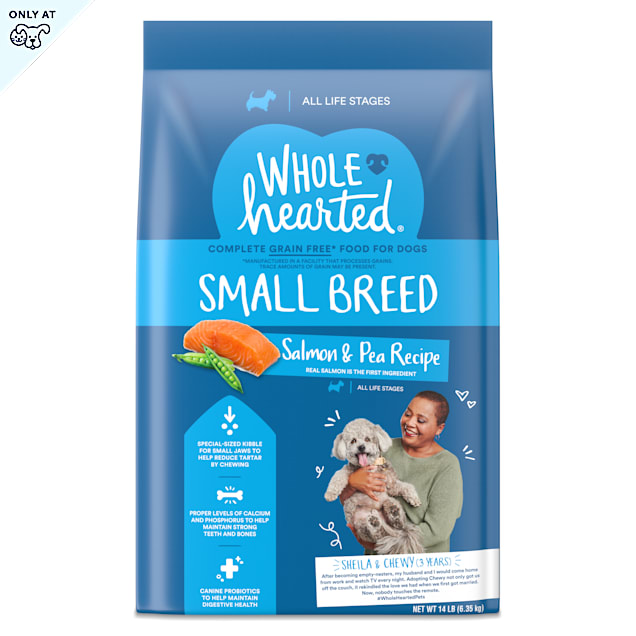 WholeHearted Grain Free Small Breed Salmon and Pea Recipe Dry Dog Food for All Life Stages, 14 lbs. - Carousel image #1