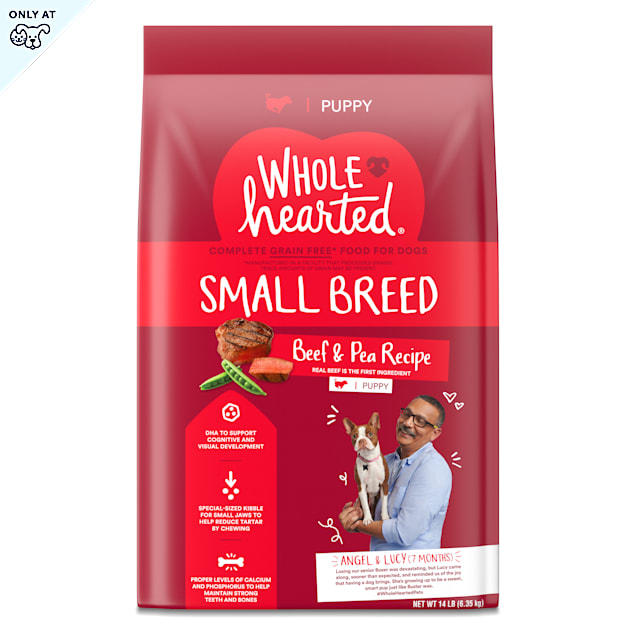 WholeHearted Grain Free Small Breed Beef and Pea Recipe Dry Puppy Food, 14 lbs. - Carousel image #1