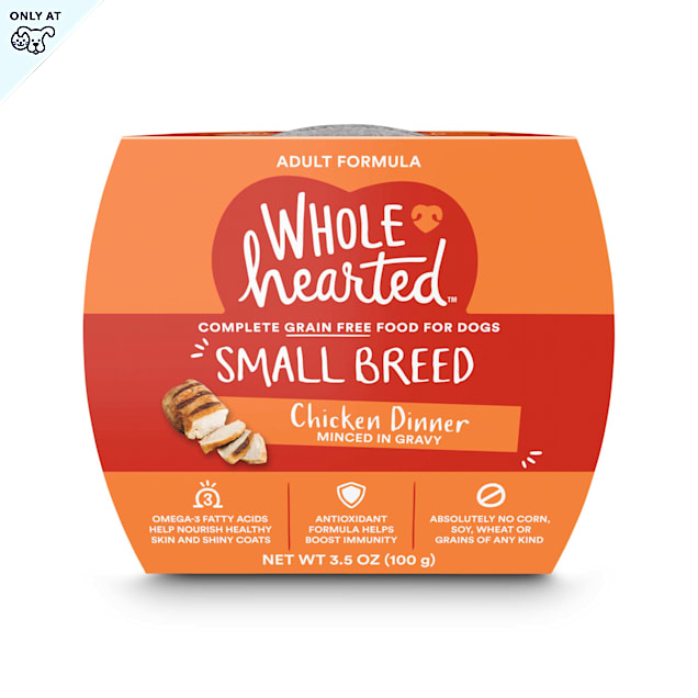 WholeHearted Grain Free Small Breed Chicken Dinner Adult Wet Dog Food, 3.5 oz., Case of 8 - Carousel image #1