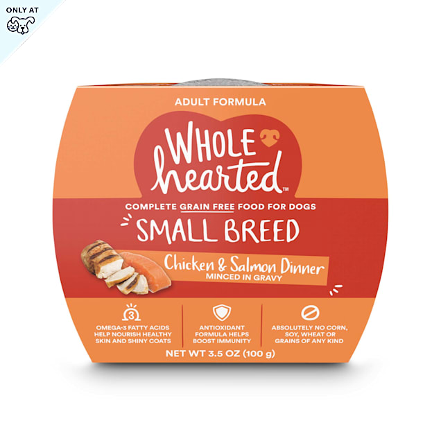 WholeHearted Grain Free Small Breed Chicken and Salmon Dinner Adult Wet Dog Food, 3.5 oz., Case of 8 - Carousel image #1
