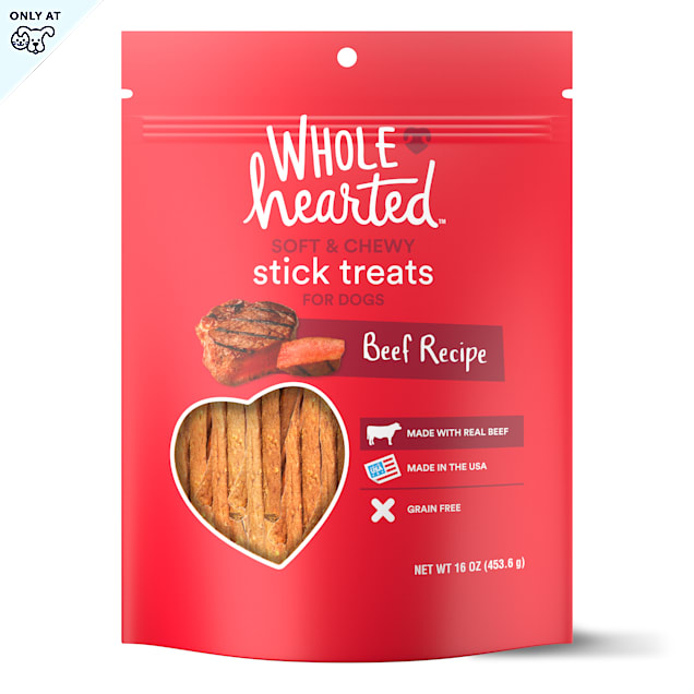 WholeHearted Grain Free Soft and Chewy Beef Recipe Dog Stick Treats, 16 oz - Carousel image #1