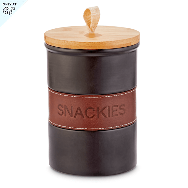 "Reddy Leather Wrapped Ceramic Dog Treat Jar, 5.25"" W X 7.25"" H - Carousel image #1"