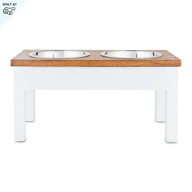 Harmony White Wood Elevated Double Diner Dog Feeder, 7 Cups - Carousel image #1