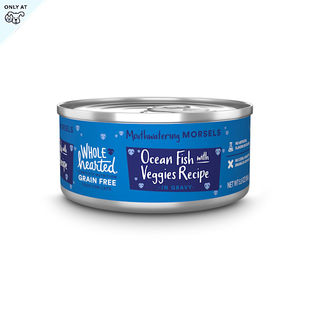 WholeHearted All Life Stages Grain-Free Oceanfish with Veggies Recipe Morsels in Gravy Wet Cat Food, 5.5 oz., Case of 12 - Carousel image #1