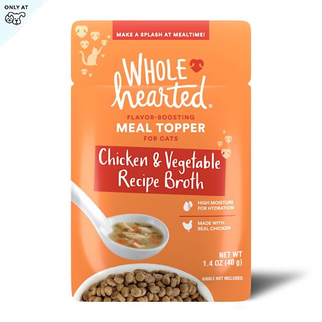 WholeHearted Chicken & Vegetable Recipe Broth Flavor-Boosting Wet Cat Meal Topper, 1.4 oz., Case of 12 - Carousel image #1