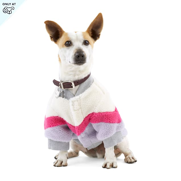YOULY The Student Pink Colorblocked Faux-Shearling Crewneck Dog Sweater, X-Small - Carousel image #1