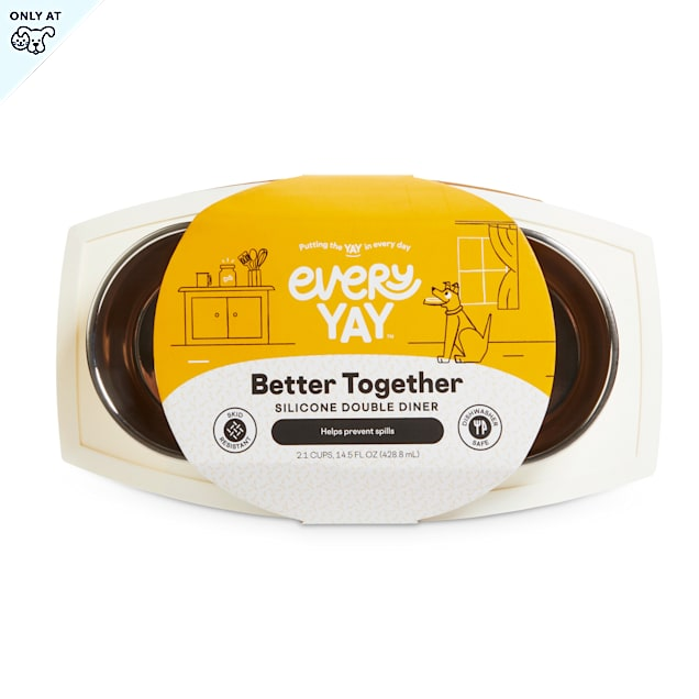 EveryYay Better Together White Silicone Double Diner with Stainless-Steel Bowls for Dogs, 2.1 Cups - Carousel image #1