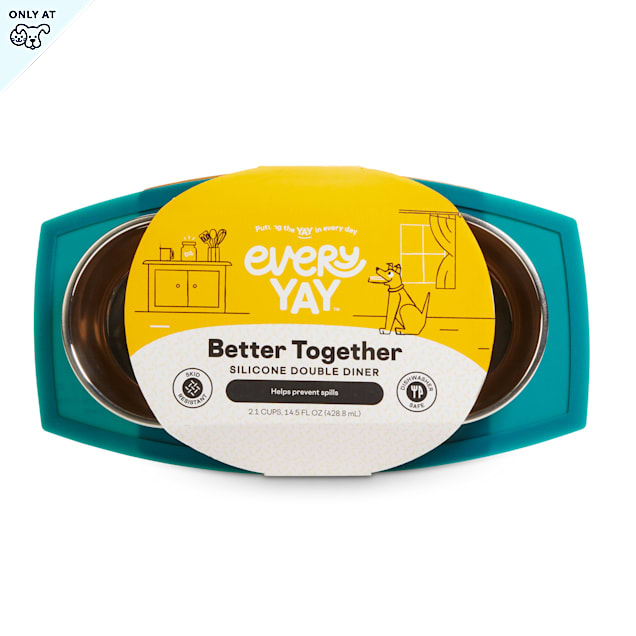 EveryYay Better Together Teal Silicone Double Diner with Stainless-Steel Bowls for Dogs, 2.1 Cups - Carousel image #1