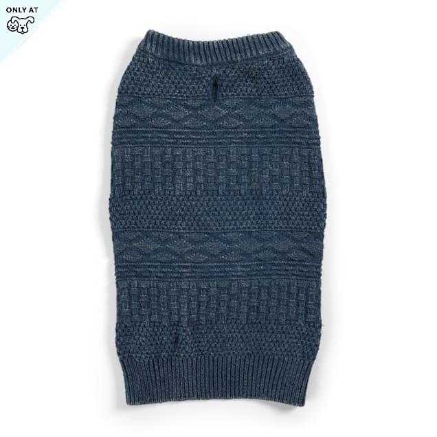YOULY The Beatnik Blue Crewneck Dog Sweater, XX-Large - Carousel image #1