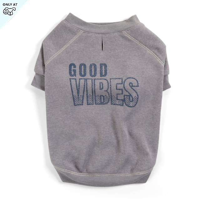 YOULY The Happy-Go-Lucky Grey Good Vibes Crewneck Dog Sweater, X-Large - Carousel image #1