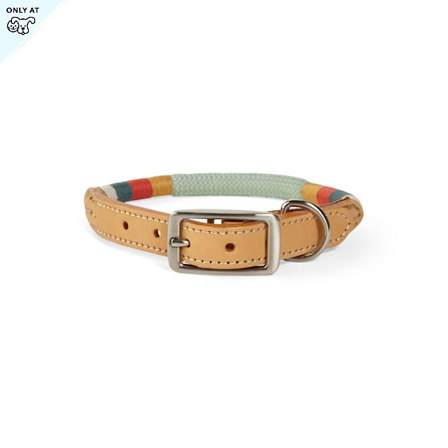 YOULY The Wanderer Green Rope & Leather Dog Collar, Small - Carousel image #1