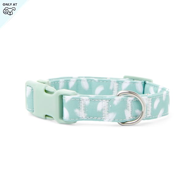 YOULY The Artist Green & White Brushstroke-Print Dog Collar, Small - Carousel image #1