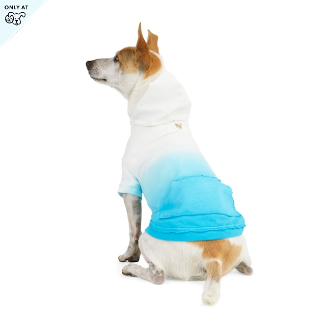 YOULY The Happy-Go-Lucky Blue Ombre Dog Hoodie, XX-Small - Carousel image #1