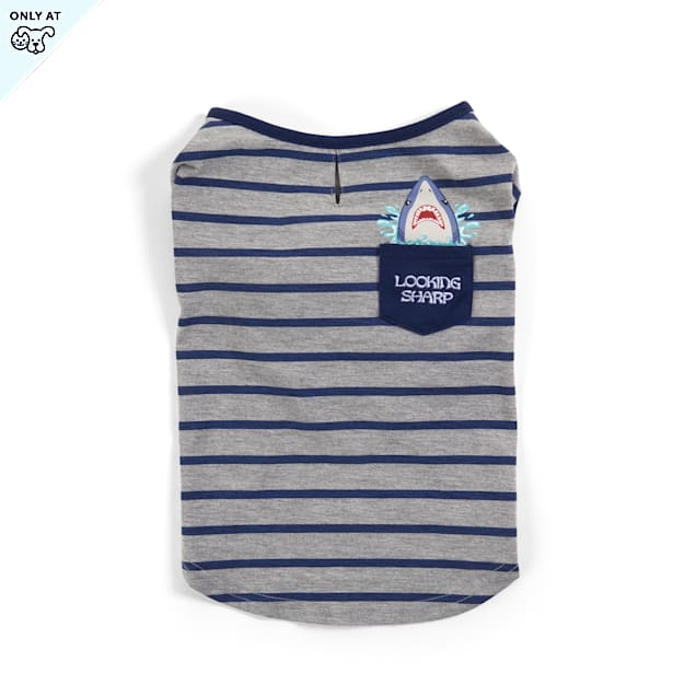 YOULY The Beach Bum Blue & White Striped Dog T-Shirt with Shark Pocket, XX-Small - Carousel image #1