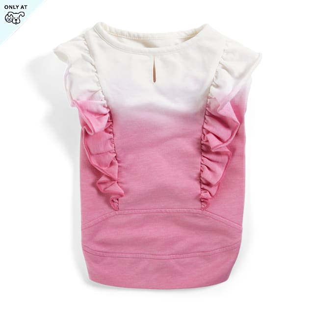 YOULY The Sophisticate Pink Ombre Ruffle Dog Shirt, XX-Small - Carousel image #1